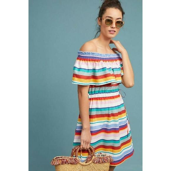 Anthropologie Dresses & Skirts - New Anthropologie Striped Off-The-Shoulder Dress